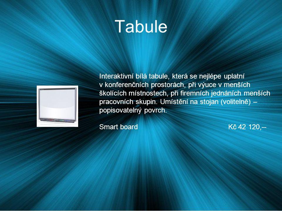 Tabule Interaktivní bílá tabule, která se nejlépe uplatní v konferenčních prostorách, při výuce v menších školících místnostech, při firemních jednáních menších pracovních skupin.