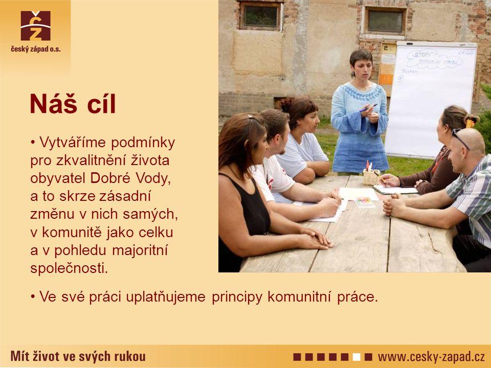 Ve své práci uplatňujeme principy komunitní práce. Náš cíl Vytváříme podmínky pro zkvalitnění života obyvatel Dobré Vody, a to skrze zásadní změnu v n