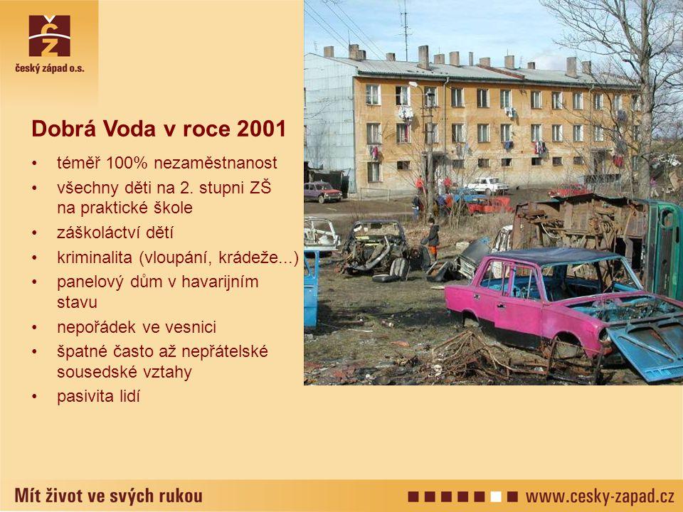 Dobrá Voda v roce 2001 téměř 100% nezaměstnanost všechny děti na 2. stupni ZŠ na praktické škole záškoláctví dětí kriminalita (vloupání, krádeže...) p
