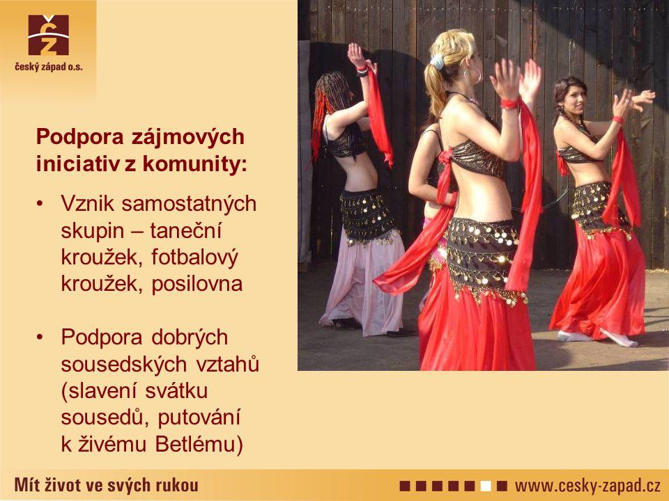 Podpora zájmových iniciativ z komunity: Vznik samostatných skupin – taneční kroužek, fotbalový kroužek, posilovna Podpora dobrých sousedských vztahů (