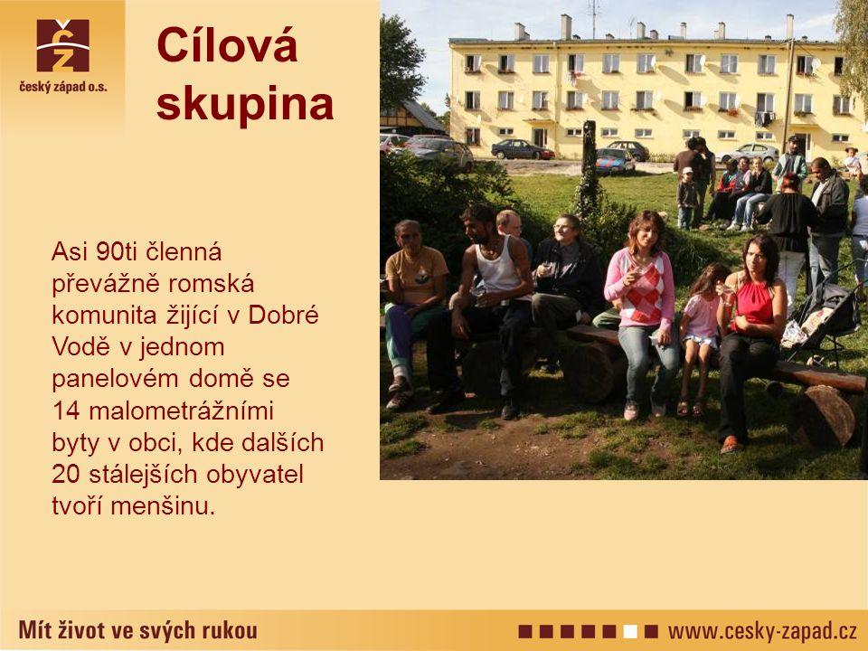 Asi 90ti členná převážně romská komunita žijící v Dobré Vodě v jednom panelovém domě se 14 malometrážními byty v obci, kde dalších 20 stálejších obyva