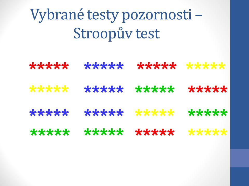 ***** Vybrané testy pozornosti – Stroopův test