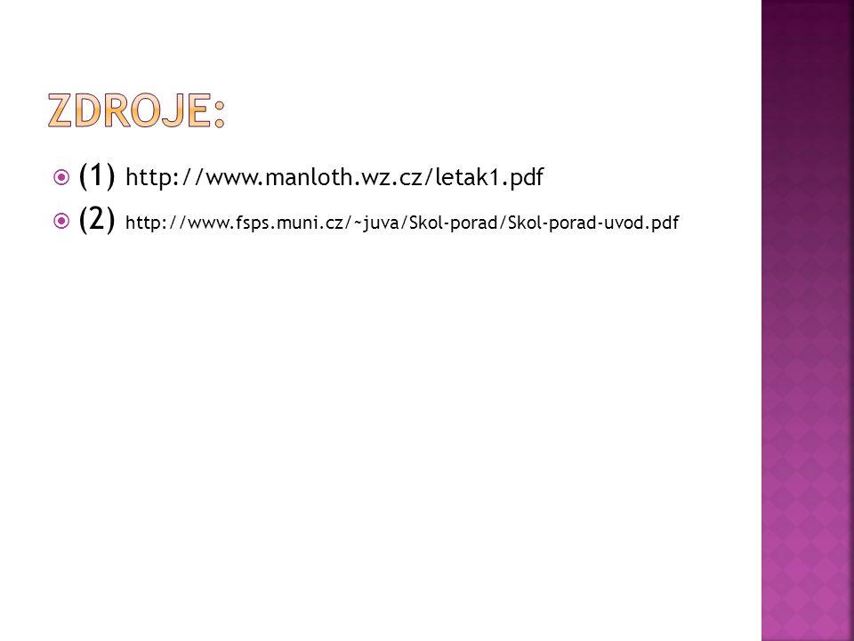  (1) http://www.manloth.wz.cz/letak1.pdf  (2) http://www.fsps.muni.cz/~juva/Skol-porad/Skol-porad-uvod.pdf