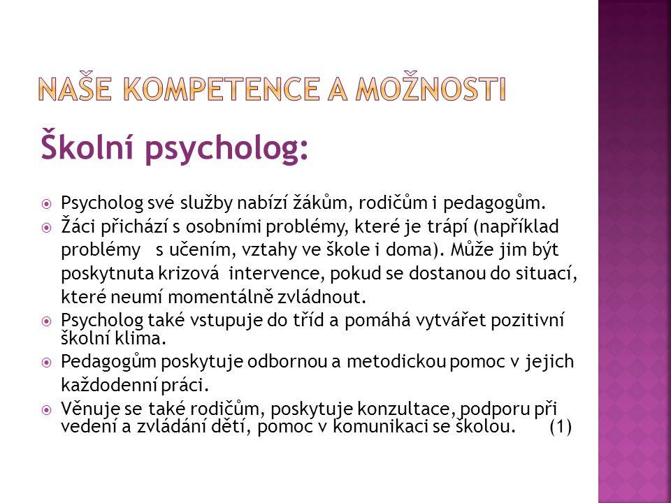 Školní psycholog:  Psycholog své služby nabízí žákům, rodičům i pedagogům.  Žáci přichází s osobními problémy, které je trápí (například problémy s