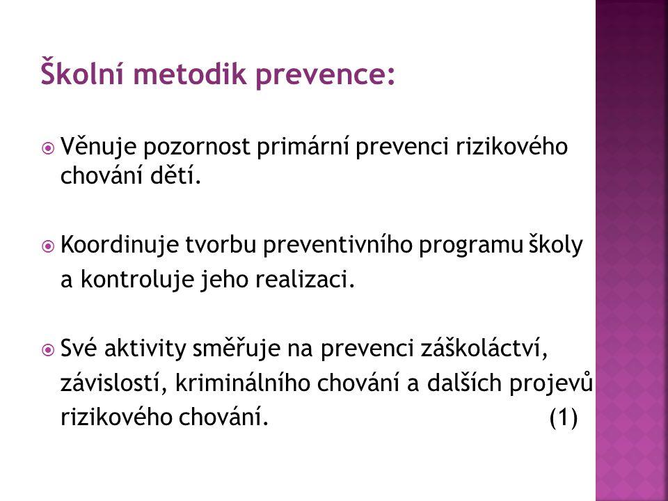 Školní metodik prevence:  Věnuje pozornost primární prevenci rizikového chování dětí.  Koordinuje tvorbu preventivního programu školy a kontroluje j