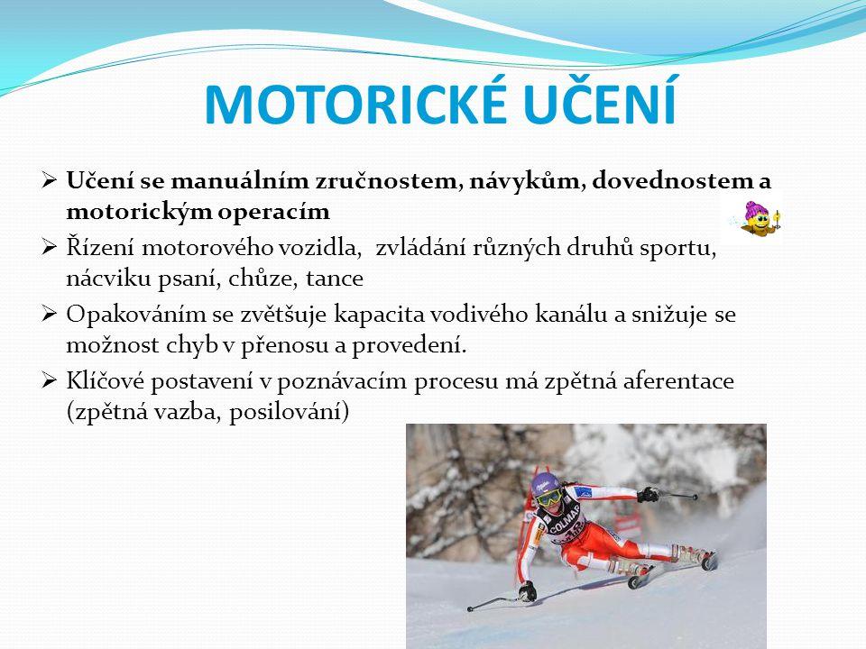 MOTORICKÉ UČENÍ  Učení se manuálním zručnostem, návykům, dovednostem a motorickým operacím  Řízení motorového vozidla, zvládání různých druhů sportu
