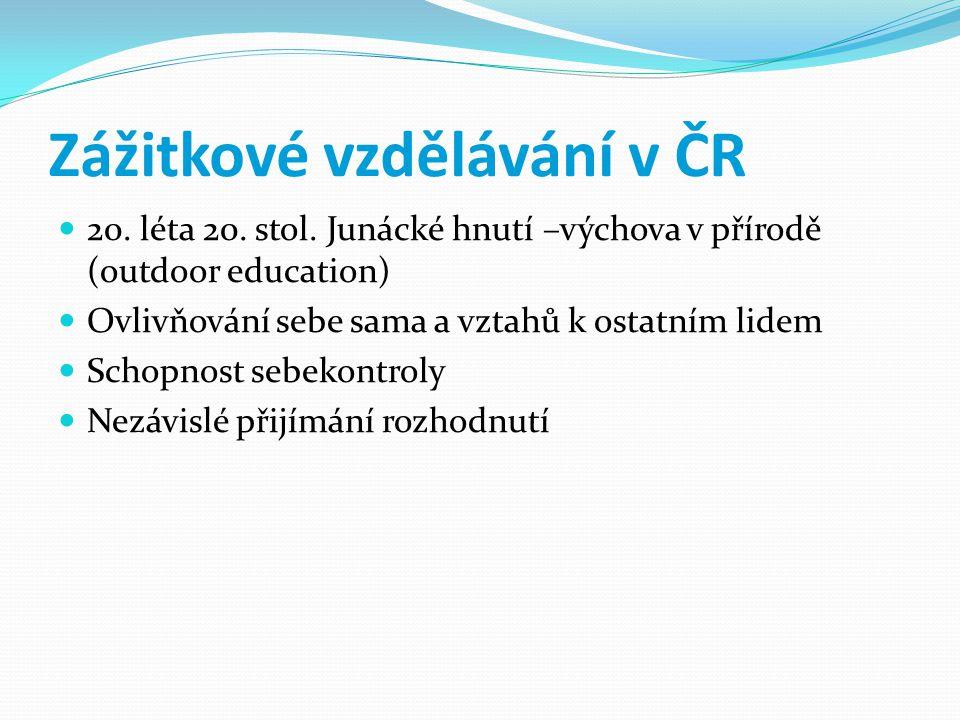 Zážitkové vzdělávání v ČR 20.léta 20. stol.
