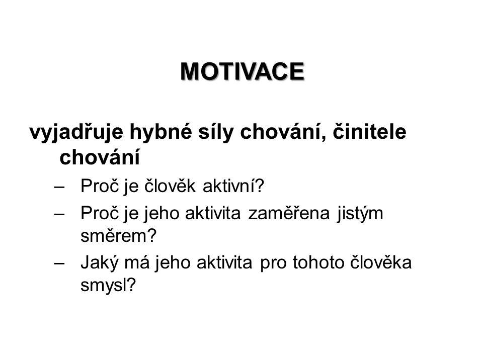 MOTIVACE vyjadřuje hybné síly chování, činitele chování –Proč je člověk aktivní.