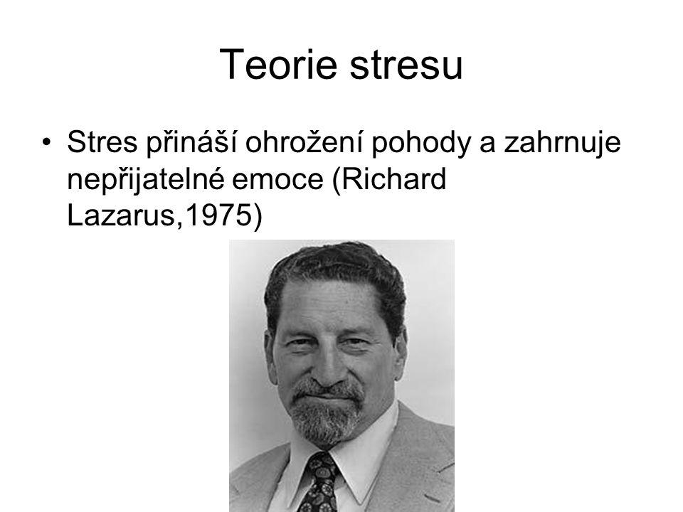 Teorie stresu Stres přináší ohrožení pohody a zahrnuje nepřijatelné emoce (Richard Lazarus,1975)