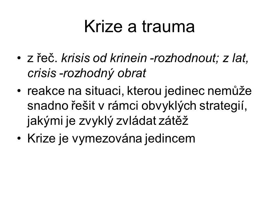 Krize a trauma z řeč. krisis od krinein -rozhodnout; z lat, crisis -rozhodný obrat reakce na situaci, kterou jedinec nemůže snadno řešit v rámci obvyk