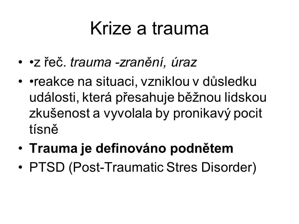 Krize a trauma z řeč. trauma -zranění, úraz reakce na situaci, vzniklou v důsledku události, která přesahuje běžnou lidskou zkušenost a vyvolala by pr