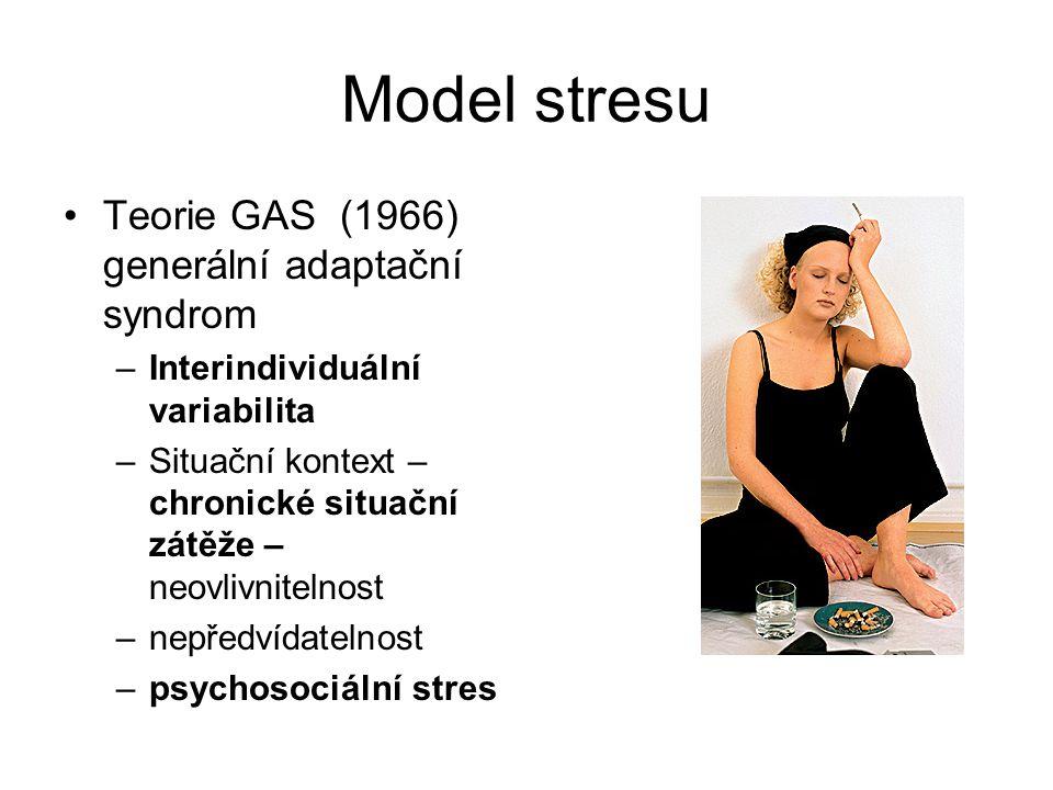 Model stresu Teorie GAS (1966) generální adaptační syndrom –Interindividuální variabilita –Situační kontext – chronické situační zátěže – neovlivnitel