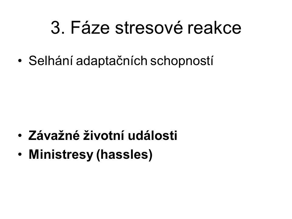 3. Fáze stresové reakce Selhání adaptačních schopností Závažné životní události Ministresy (hassles)
