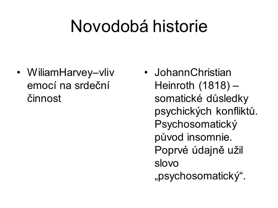 Novodobá historie WiliamHarvey–vliv emocí na srdeční činnost JohannChristian Heinroth (1818) – somatické důsledky psychických konfliktů. Psychosomatic