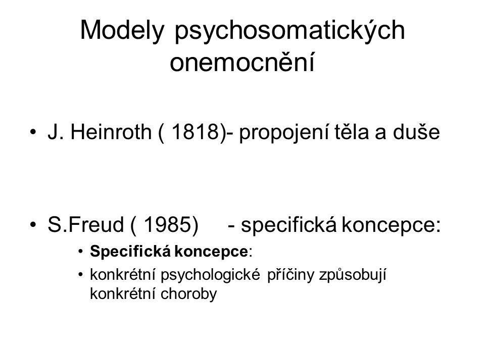 Modely psychosomatických onemocnění J. Heinroth ( 1818)- propojení těla a duše S.Freud ( 1985) - specifická koncepce: Specifická koncepce: konkrétní p