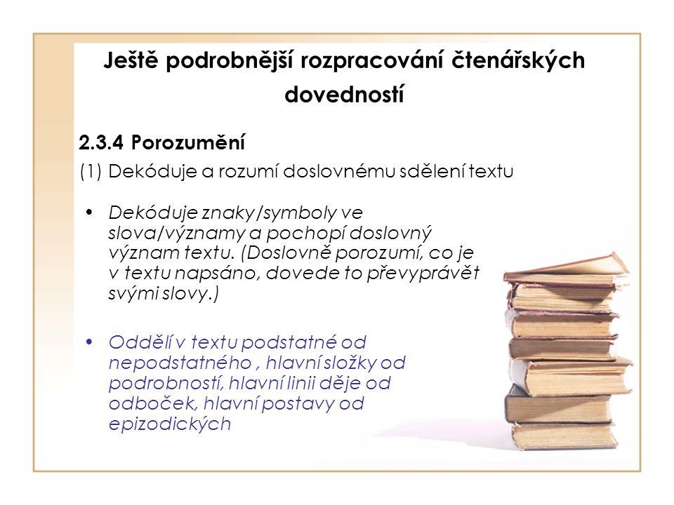 Ještě podrobnější rozpracování čtenářských dovedností 2.3.4 Porozumění (1) Dekóduje a rozumí doslovnému sdělení textu Dekóduje znaky/symboly ve slova/