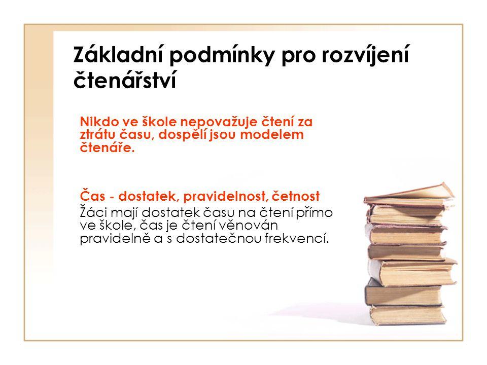 Základní podmínky pro rozvíjení čtenářství Nikdo ve škole nepovažuje čtení za ztrátu času, dospělí jsou modelem čtenáře. Čas - dostatek, pravidelnost,