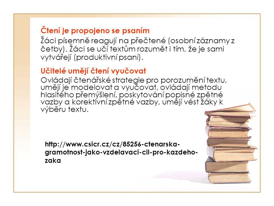 Čtení je propojeno se psaním Žáci písemně reagují na přečtené (osobní záznamy z četby). Žáci se učí textům rozumět i tím, že je sami vytvářejí (produk