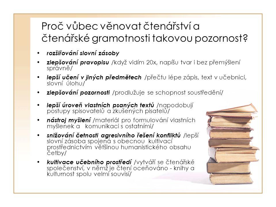 Proč vůbec věnovat čtenářství a čtenářské gramotnosti takovou pozornost? lepší úroveň vlastních psaných textů /napodobují postupy spisovatelů a zkušen