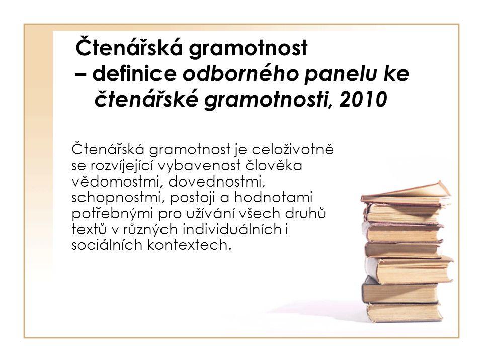 Čtenářská gramotnost – definice odborného panelu ke čtenářské gramotnosti, 2010 Čtenářská gramotnost je celoživotně se rozvíjející vybavenost člověka