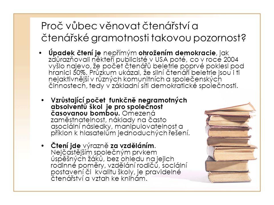 Proč vůbec věnovat čtenářství a čtenářské gramotnosti takovou pozornost? Čtení jde výrazně za vzděláním. Nejčastějším společným prvkem úspěšných žáků,