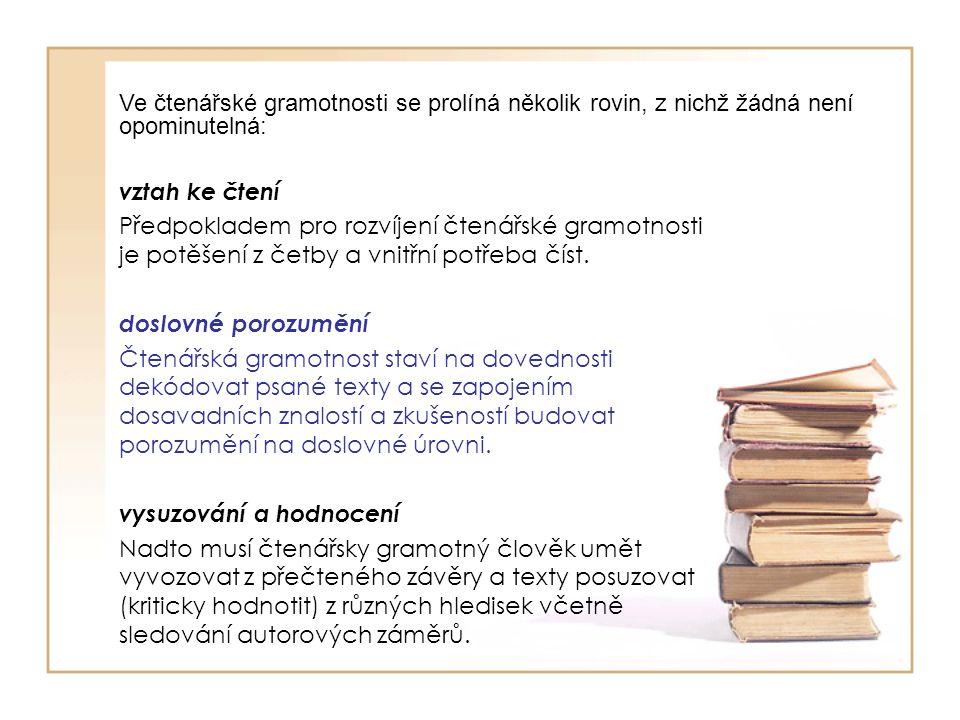 vztah ke čtení Předpokladem pro rozvíjení čtenářské gramotnosti je potěšení z četby a vnitřní potřeba číst. doslovné porozumění Čtenářská gramotnost s