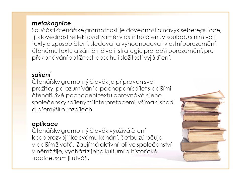 sdílení Čtenářsky gramotný člověk je připraven své prožitky, porozumívání a pochopení sdílet s dalšími čtenáři. Své pochopení textu porovnává s jeho s