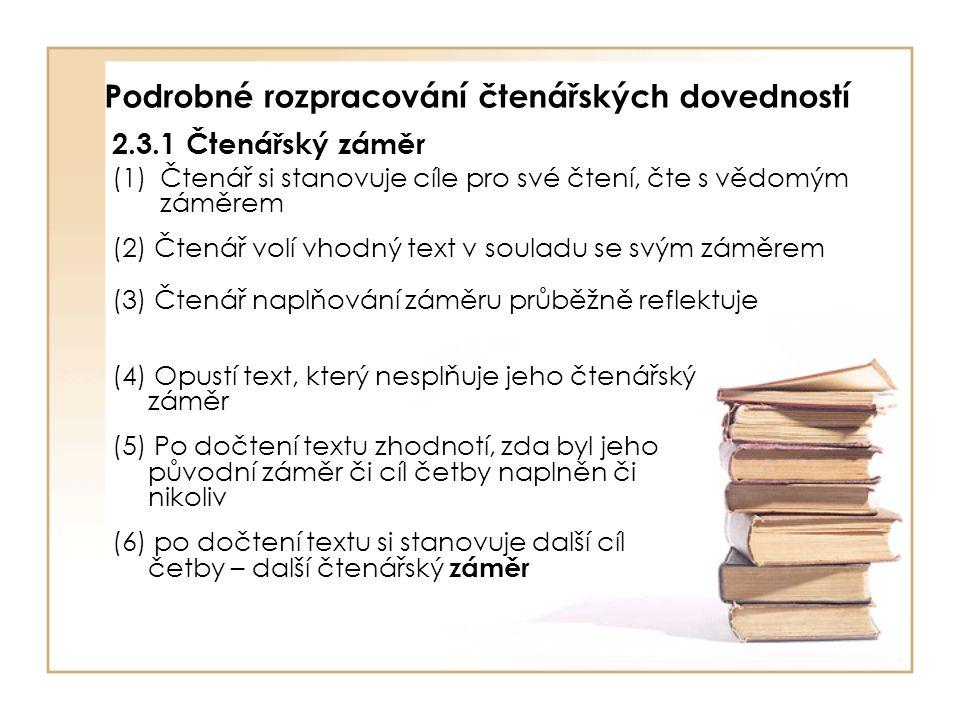 2.3.2 Rozšiřování čtenářského území, otevřenost novým zážitkům (1) Čtenář čte texty věcné i beletrii (2) Čtenář neomezuje své čtenářství na stereotypní okruh četby (3) Čtenářské zážitky prohlubuje využitím znalostí o četbě a literatuře 2.3.3 Způsob čtení (1)Čtenář upravuje svůj způsob čtení podle záměru, s nímž čte, a podle charakteru textu ( včetně náročnosti textu) (2) Využívá organizační pomůcky v textu (3) Vytváří si čtenářské rituály, které mu pomáhají prožít četbu a textu co nejlépe porozumět