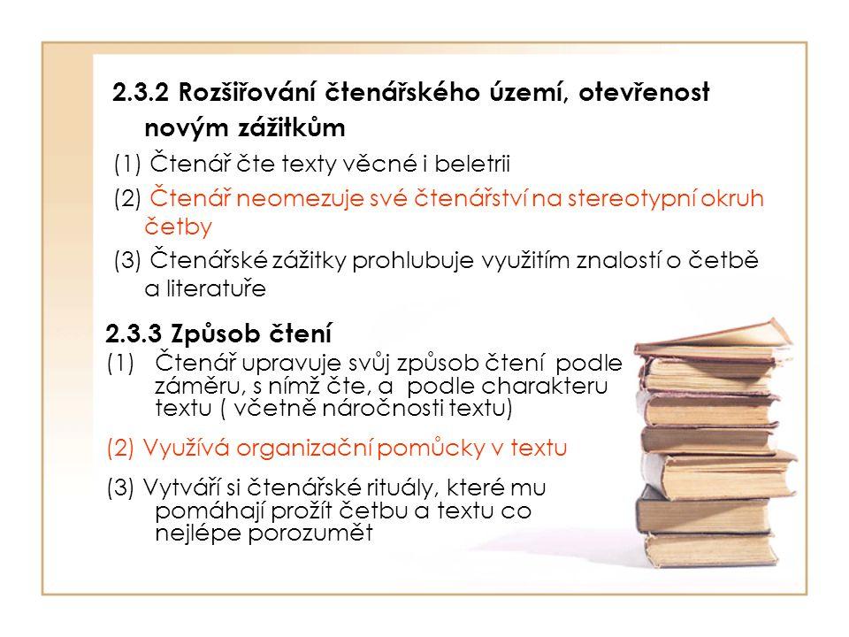 2.3.2 Rozšiřování čtenářského území, otevřenost novým zážitkům (1) Čtenář čte texty věcné i beletrii (2) Čtenář neomezuje své čtenářství na stereotypn