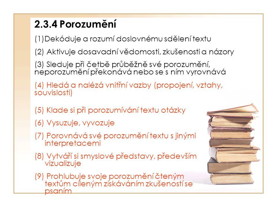 2.3.4 Porozumění (1)Dekóduje a rozumí doslovnému sdělení textu (2) Aktivuje dosavadní vědomosti, zkušenosti a názory (3) Sleduje při četbě průběžně sv