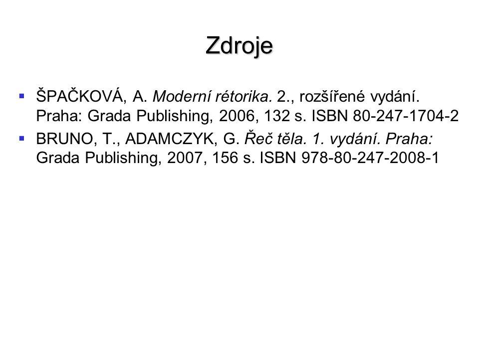 Zdroje   ŠPAČKOVÁ, A. Moderní rétorika. 2., rozšířené vydání.