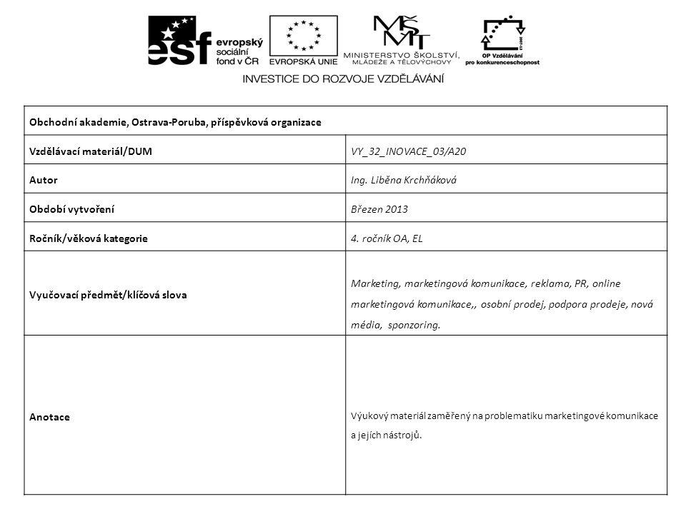 Obchodní akademie, Ostrava-Poruba, příspěvková organizace Vzdělávací materiál/DUMVY_32_INOVACE_03/A20 AutorIng. Liběna Krchňáková Období vytvořeníBřez