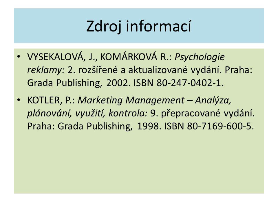 Zdroj informací VYSEKALOVÁ, J., KOMÁRKOVÁ R.: Psychologie reklamy: 2. rozšířené a aktualizované vydání. Praha: Grada Publishing, 2002. ISBN 80-247-040