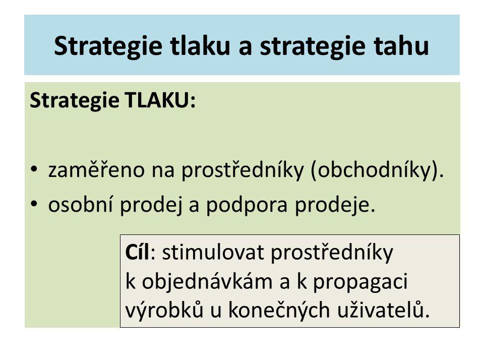 Strategie tlaku a strategie tahu Strategie TLAKU: zaměřeno na prostředníky (obchodníky). osobní prodej a podpora prodeje. Cíl: stimulovat prostředníky