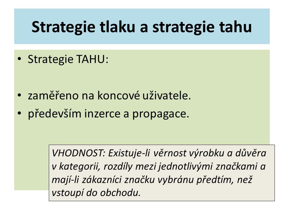 Strategie tlaku a strategie tahu Strategie TAHU: zaměřeno na koncové uživatele. především inzerce a propagace. VHODNOST: Existuje-li věrnost výrobku a