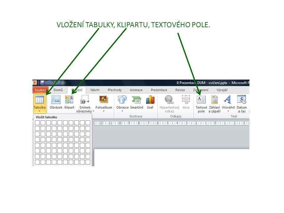 VLOŽENÍ TABULKY, KLIPARTU, TEXTOVÉHO POLE.