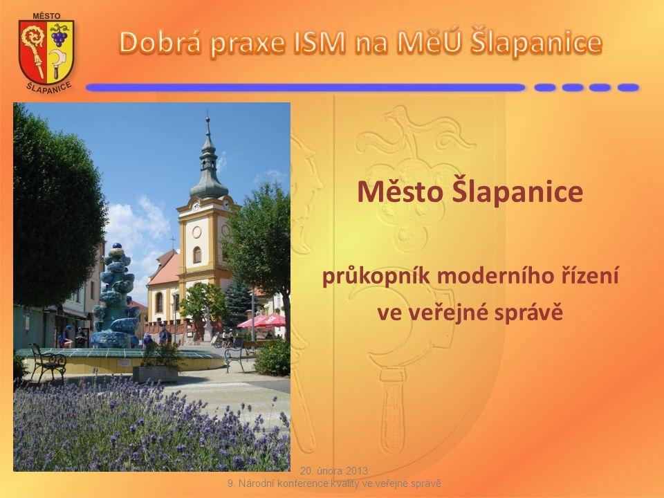 Město Šlapanice průkopník moderního řízení ve veřejné správě 20. února 2013 9. Národní konference kvality ve veřejné správě