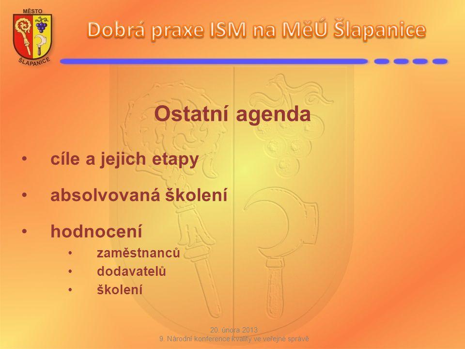 Ostatní agenda cíle a jejich etapy absolvovaná školení hodnocení zaměstnanců dodavatelů školení 20. února 2013 9. Národní konference kvality ve veřejn