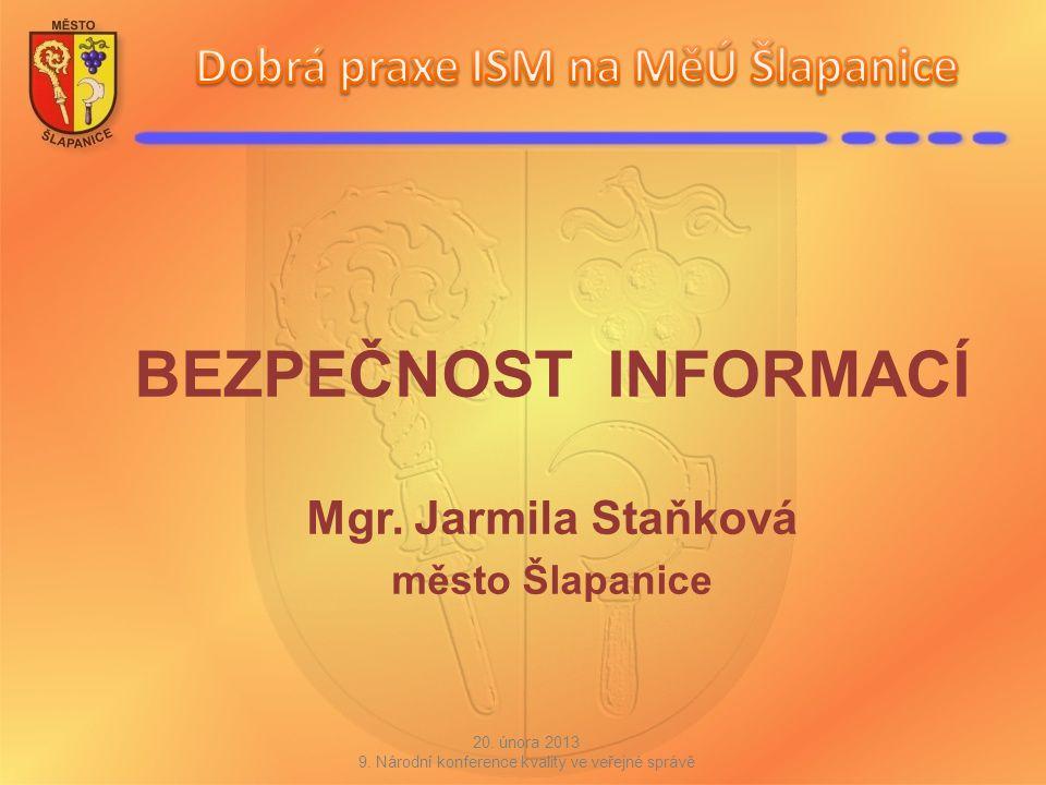 BEZPEČNOST INFORMACÍ Mgr. Jarmila Staňková město Šlapanice 20. února 2013 9. Národní konference kvality ve veřejné správě