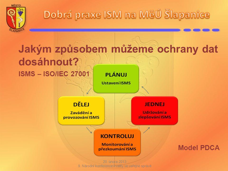 Jakým způsobem můžeme ochrany dat dosáhnout? ISMS – ISO/IEC 27001 Model PDCA 20. února 2013 9. Národní konference kvality ve veřejné správě