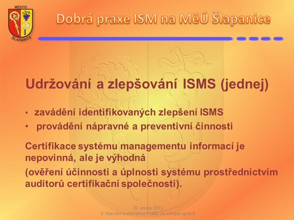 Udržování a zlepšování ISMS (jednej) zavádění identifikovaných zlepšení ISMS provádění nápravné a preventivní činnosti Certifikace systému managementu