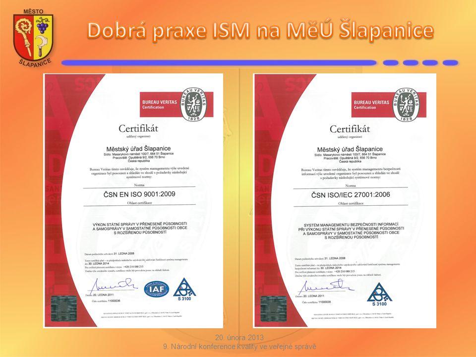Město Šlapanice a ISMS dnes systém je nastavený, funguje podle modelu PDCA dokumenty k ISMS jsou vedeny elektronicky na portále SharePoint 20.