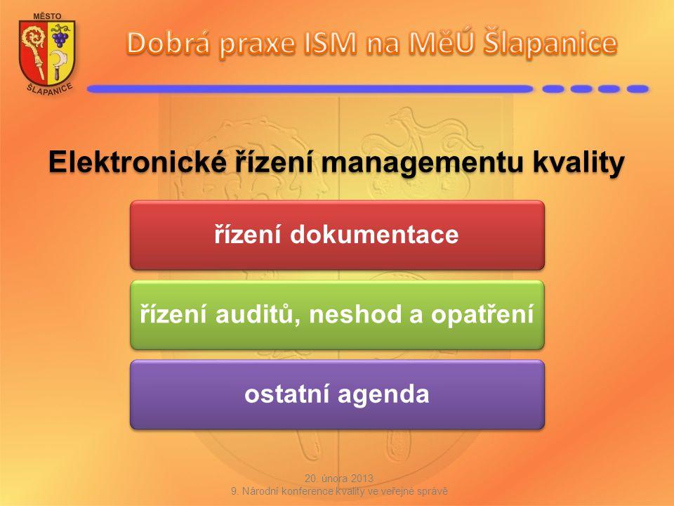 Elektronické řízení managementu kvality řízení dokumentaceřízení auditů, neshod a opatřeníostatní agenda 20. února 2013 9. Národní konference kvality