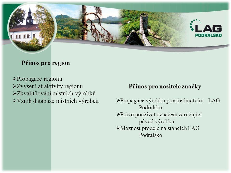 Přínos pro region Přínos pro nositele značky  P ropagace regionu  Z výšení atraktivity regionu kvalitňování místních výrobků  V znik databáze místn