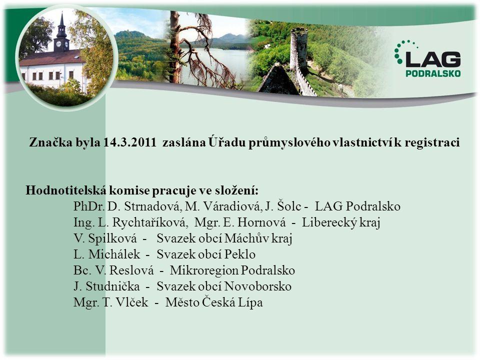 Značka byla 14.3.2011 zaslána Úřadu průmyslového vlastnictví k registraci Hodnotitelská komise pracuje ve složení: PhDr. D. Strnadová, M. Váradiová, J