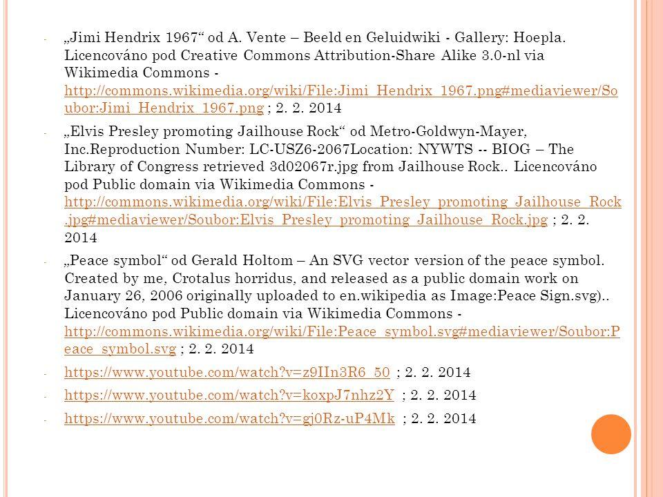 "- ""Jimi Hendrix 1967"" od A. Vente – Beeld en Geluidwiki - Gallery: Hoepla. Licencováno pod Creative Commons Attribution-Share Alike 3.0-nl via Wikimed"