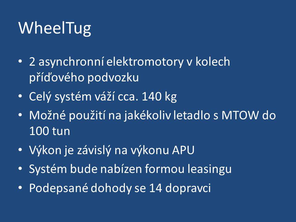 WheelTug 2 asynchronní elektromotory v kolech příďového podvozku Celý systém váží cca.