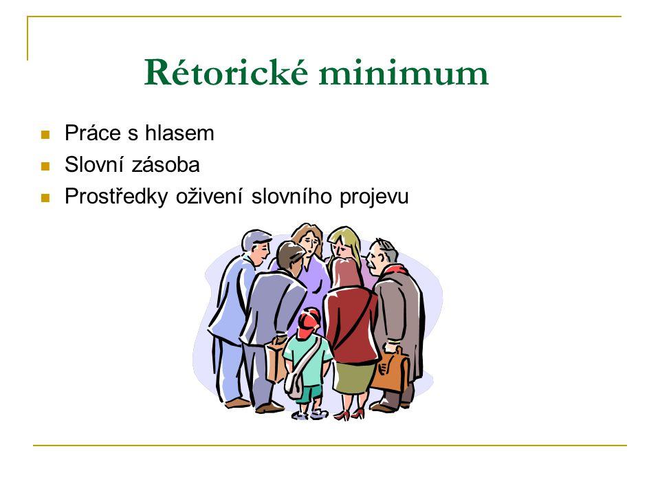 Rétorické minimum Práce s hlasem Slovní zásoba Prostředky oživení slovního projevu
