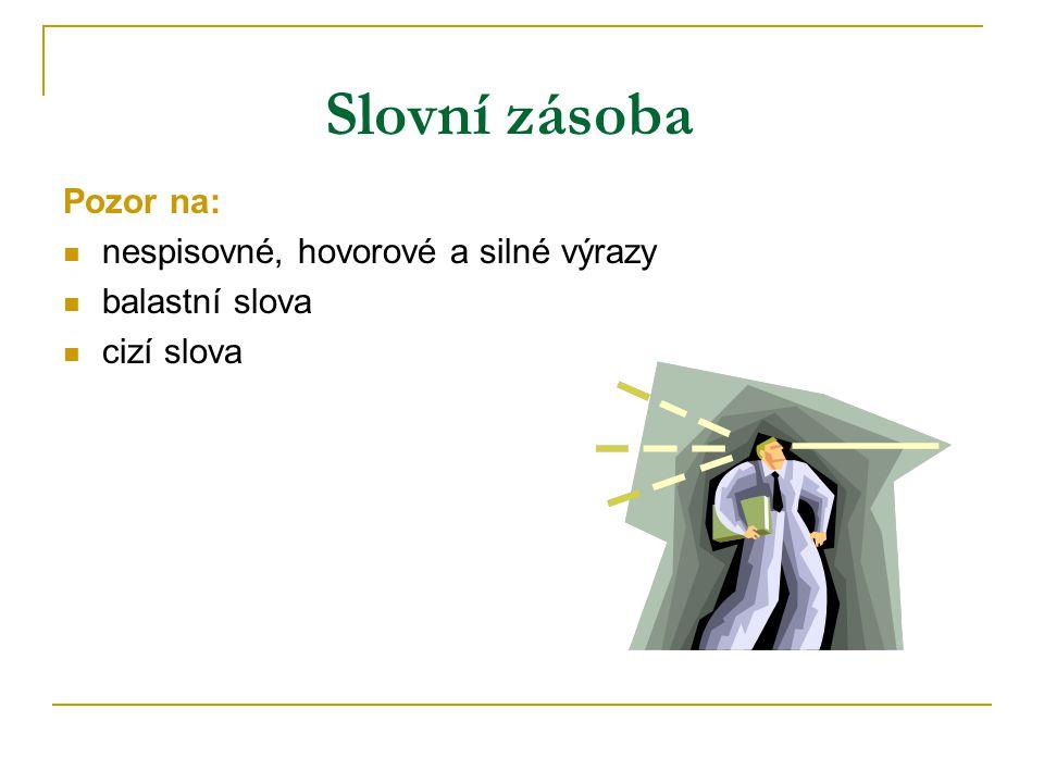 Slovní zásoba Pozor na: nespisovné, hovorové a silné výrazy balastní slova cizí slova