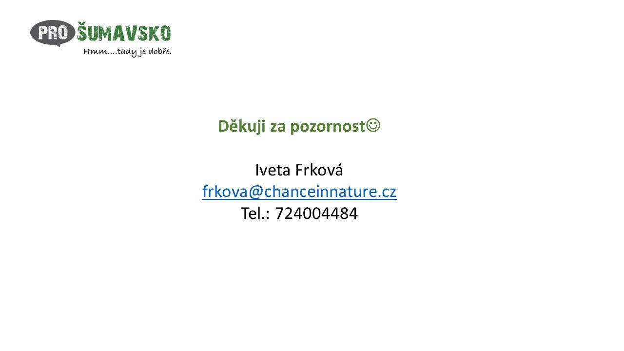 Děkuji za pozornost Iveta Frková frkova@chanceinnature.cz Tel.: 724004484